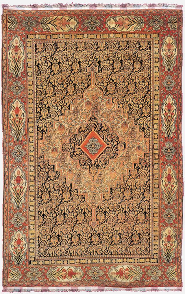 00015-senneh persian size 198 cm 197 cm wool and silk on silk base