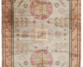 11296-KHOTAN -239 CM X 330 CM ( 7 FT 10 IN X 10 FT 10 IN ) LIGHT BLUE ,PEACH