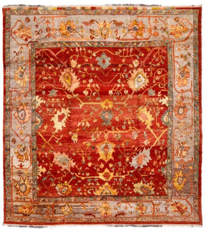 13907-oushak-305 cm 335 cm -red,light gray color