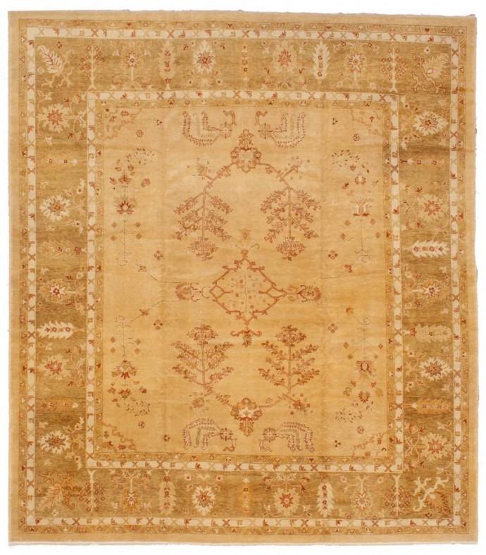 14084- New Oushak 378 cm x 432 cm ,gold .green