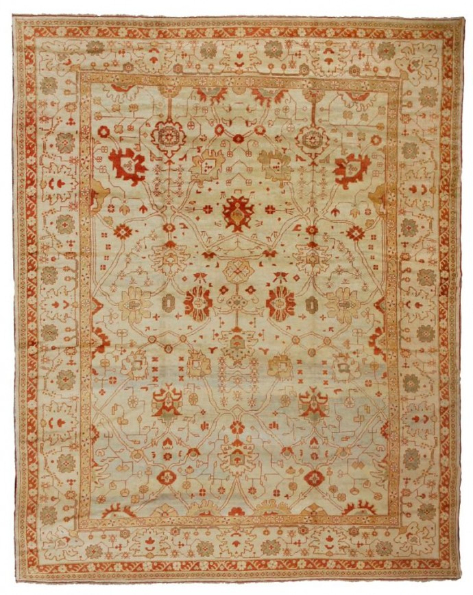 14706 New Oushak -376 cm x 488 cm -light yellow ,Ivory